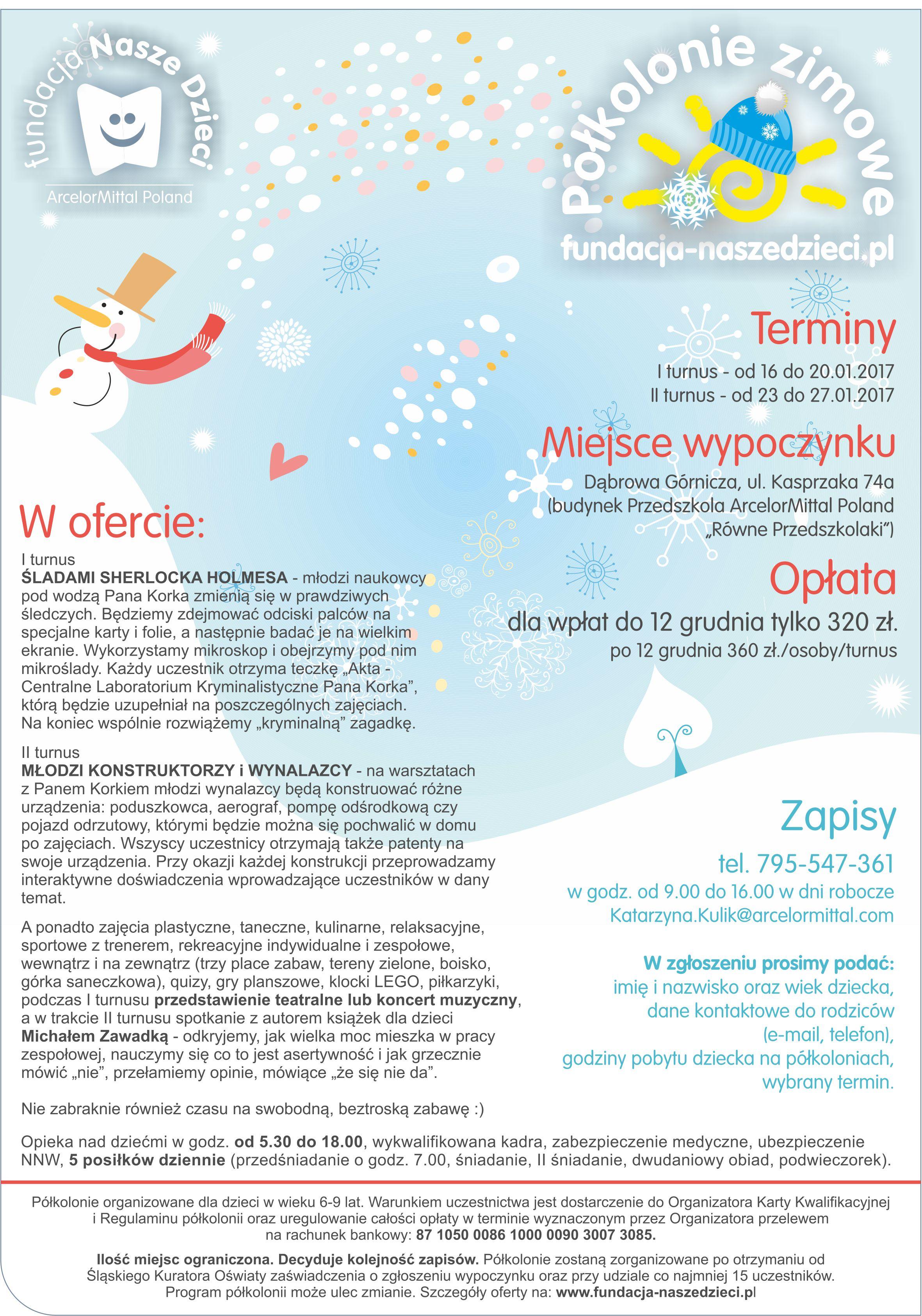 Ferie 2016! Dąbrowa Górnicza, Fundacja Nasze Dzieci